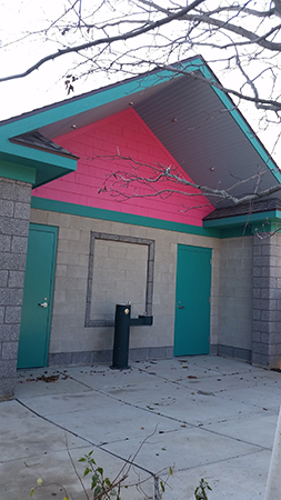 New bathrooms, funded by a generous estate gift from Pete and Sally Smith, were constructed between the outdoor 4-H Children's Garden and the Pete and Sally Smith Schoolyard Demonstration Garden. The bathrooms will open to the public in spring 2016.
