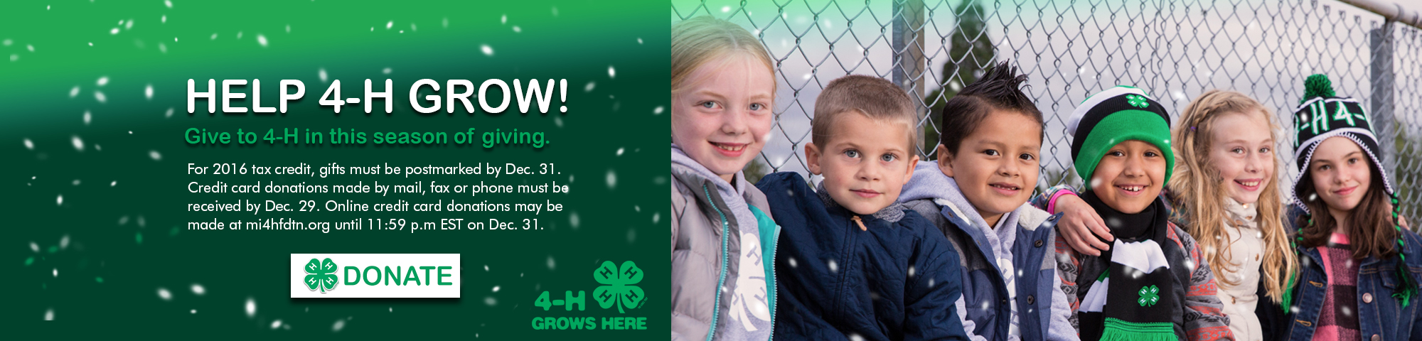 Help 4-H GROW! Give to 4-H in this season of giving.