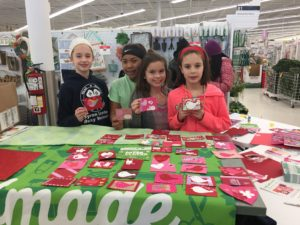 To kick-off the new partnership with JOANN, in-store service events were held at stores nationwide, including at the Grand Rapids JOANN store. Kent County 4-H youth and volunteers made custom Valentine's Day cards which were donated to the Helen DeVos Children's Hospital in Grand Rapids.