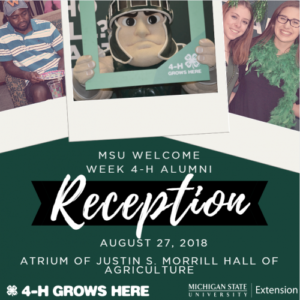 MSU Welcome Week 4-H Alumni Reception - Aug. 27, 2018