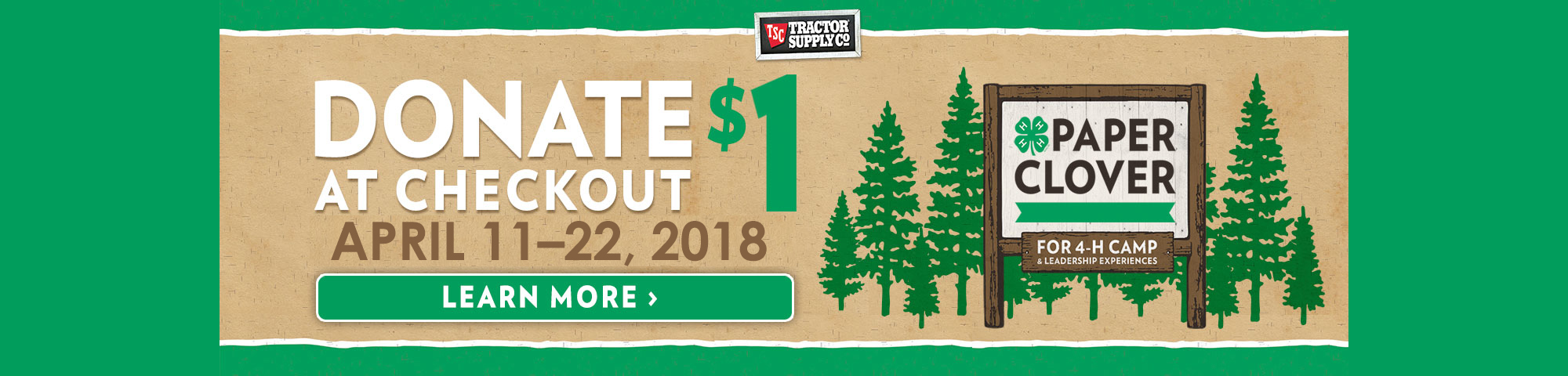 TSC Paper Clover Campaign - Donate $1 at checkout Apr. 11-22, 2018. Click here to learn more.